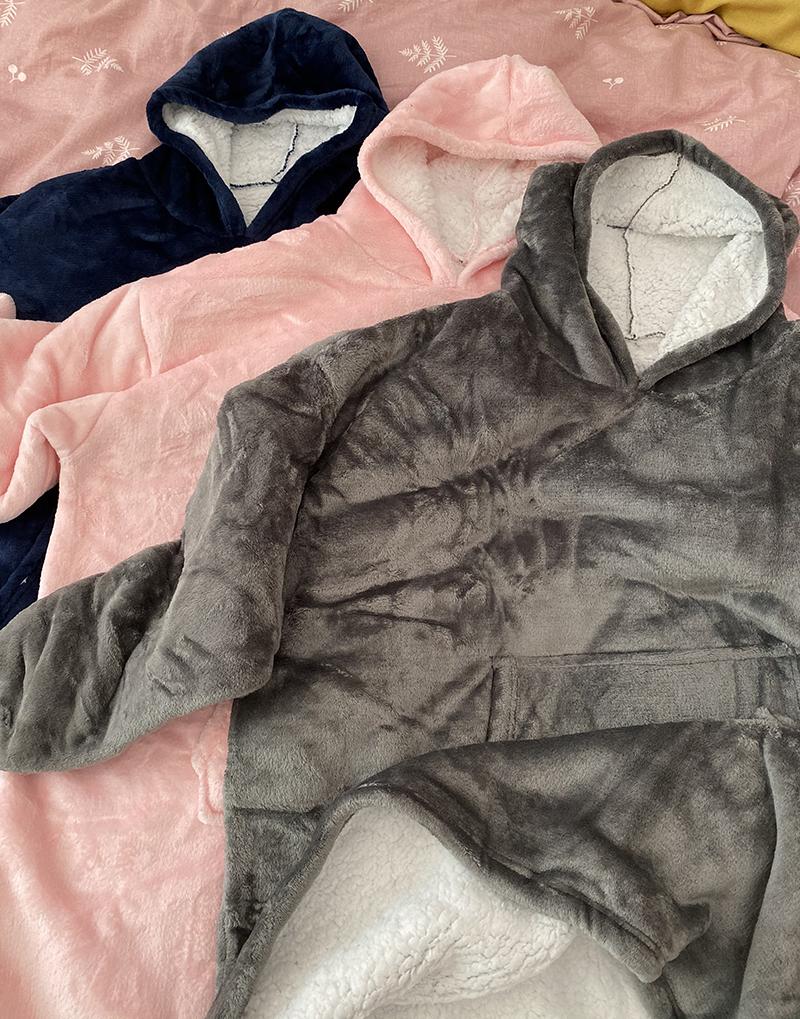 Winter Warm Comfy Hooded Pocket Blankets Adults Bathrobe Sofa TV Blanket Sweatshirt Solid Plush Coral Fleece Blankets Outwears 13