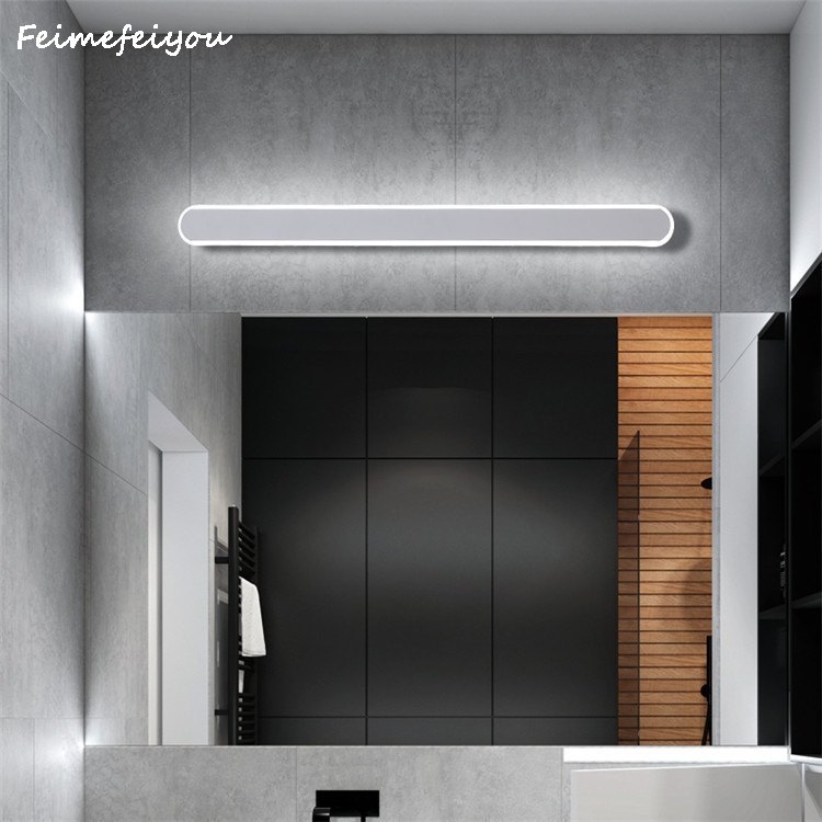 LED Bathroom Vanity Lighting Ultra-thin Mirror Lamp Fixtures Long Shade Stainless Steel Bath Mirror Lamps Wall Lights