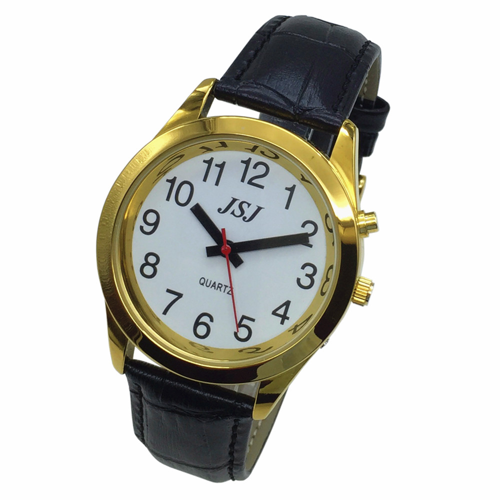 French Talking Watch With Alarm Function, Talking Date And Time, White Dial, Black Leather Band, Golden Case TAF-707