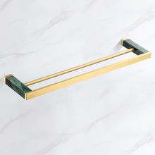 Towel Rack Shelf Brass Bathroom Accessories Sets Green Marble Double Towel Bars Brushed Gold Towel Ring Holder