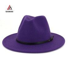 QIUBOSS, британский стиль, женская джазовая шляпа, для мужчин и женщин, фетровая шляпа, фетровая шляпа с ремнем и пряжкой, Декор, широкие поля, вечерние, торжественные шляпы, большой размер