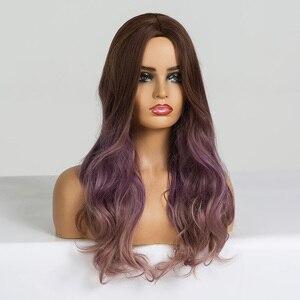 Image 3 - EATON perruque synthétique pour Cosplay longue ondulée marron, violette, ombré, perruques en Fiber résistante à la chaleur pour femmes noires