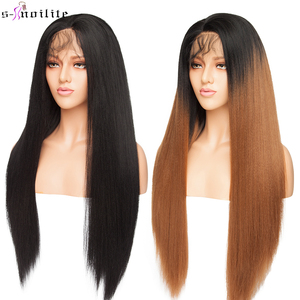 SNOILITE 26'' Ombre Yaki Hair 12.5X3 Lace Front Wig Long Straight Synthetic Free Part Hairline Afro Wigs With Baby Hair