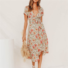 Autumn Chiffon Printed Floral Dress Midi V-neck Sexy with Lace-up Slit Womens