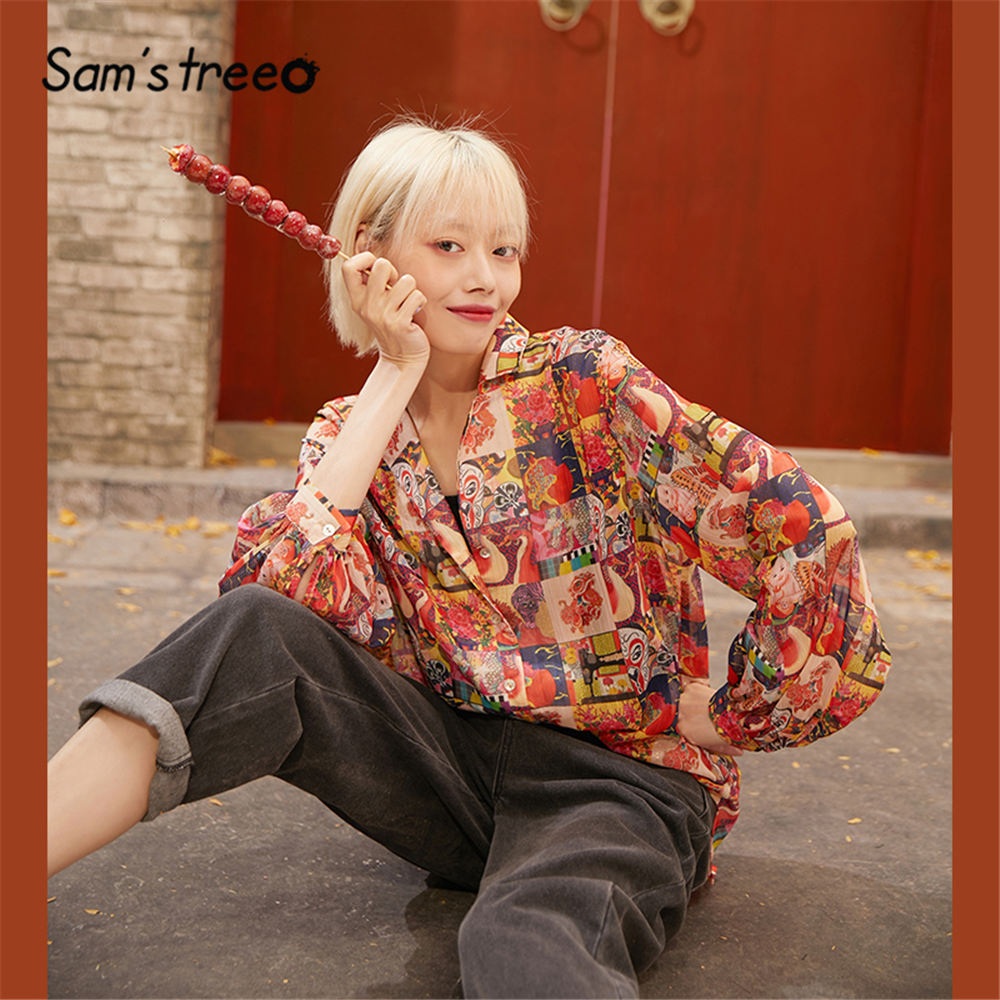 SAM'S TREE Red Lucky Character Print Single Breasted Chiffon Blouse Women 2020 Spring Lantern Sleeve Casual Ladies Daily Tops