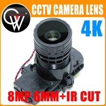 """4K HD 6mm עדשת 8MP F0.95 M16 מוקד 1/2. 7 """"ir לחתוך + עדשה עבור IMX327, IMX307, IMX290, IMX291 מצלמה לוח מודול"""