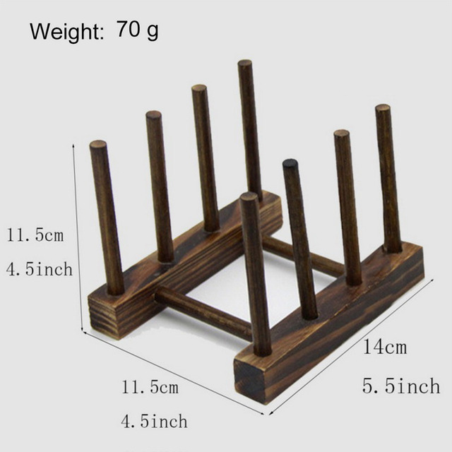 1PC Wooden Dish Drain Rack Kitchen Lid Holder Organizer Beautiful Domestic Drying Shelf Book Cups Display Sink Stand Drainer 2