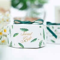 100Pcs/lot Party Gift Boxes with Ribbon Green Leaves Favor Boxes Christmas Present Gifts Box Wedding Party Supplies