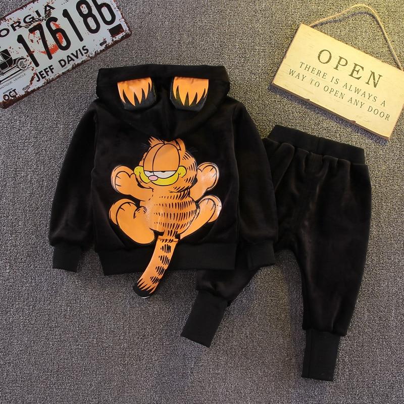 New Spring Autumn Children Clothing Boys Girls Cartoon Casual Gold Velvet T-shirt Pants 2pcs/Set Infant Outfit Kids Clothes Suit