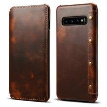 Prawdziwa skóra dla Samsung Galaxy S10 przypadku Coque Samsung S10Plus przypadku luksusowe odwróć pokrywa dla Etui Samsung S10 Plus przypadku Galaxy S10e