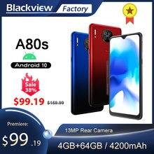 Blackview a80s 4gb + 64gb octa núcleo smartphone 13mp quad câmera traseira 6.217 waterwatertelefone celular waterdrop 4g lte 4200mah