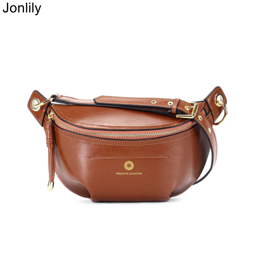 Jonlily Women Genuine Leather Shoulderbag Female Fashion Sling Bag Retro New Style Waist Pack Teens Elegant Daybag Purse -KG306