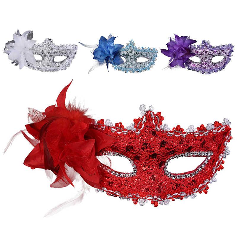 6 di Colore Del Merletto Del Partito di Carnevale Fancy Dress Eye Maschere di Travestimento Della Sfera Del Fiore Della Piuma Della Decorazione Della Festa di Natale