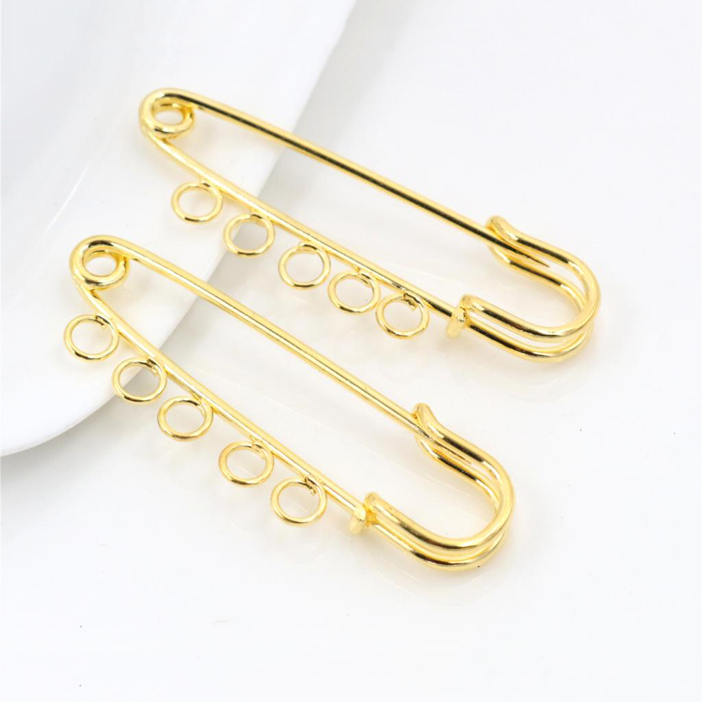 5pcs/lot 50*15mm Brooches Findings Gold Color Brooch Pins Supplies For Jewelry Accessories Cameo Setting Charms-S4-24