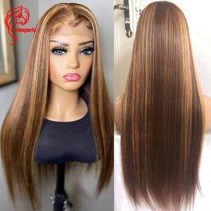 Image 1 - Hesperis 360 perruque frontale dentelle pré plumée 13x6 perruque cheveux humain avant dentelle brésilienne Remy droite couleur Blonde mettre en évidence perruques