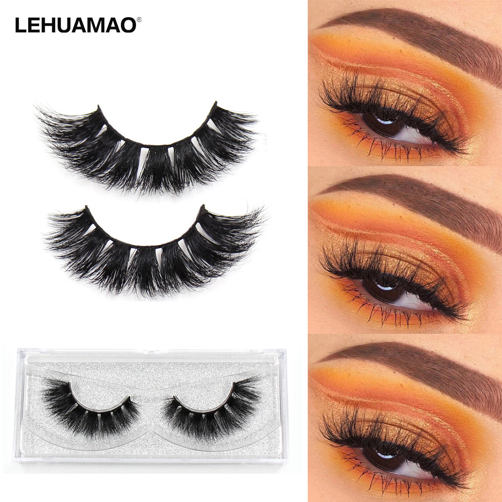 LEHUAMAO Mink Eyelashes 3D Mink Lashes Natural Fluffy Eyelash Soft Dramatic False Eyelashes Reusable Lashes Transparent Box E04