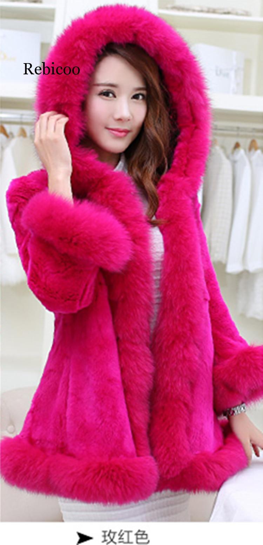 Luxury Faux Rabbit Fur Coat Women Winter Coat Hooded Fox Fur Collar Furry Medium-long Lady Overcoat Furry Women Coat