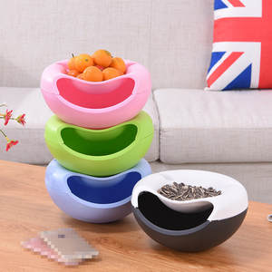 Bowl Snack-Storage-Box Lazy-Snack Plastic Creative-Shape Modern Double-Layers 1pc Living-Room