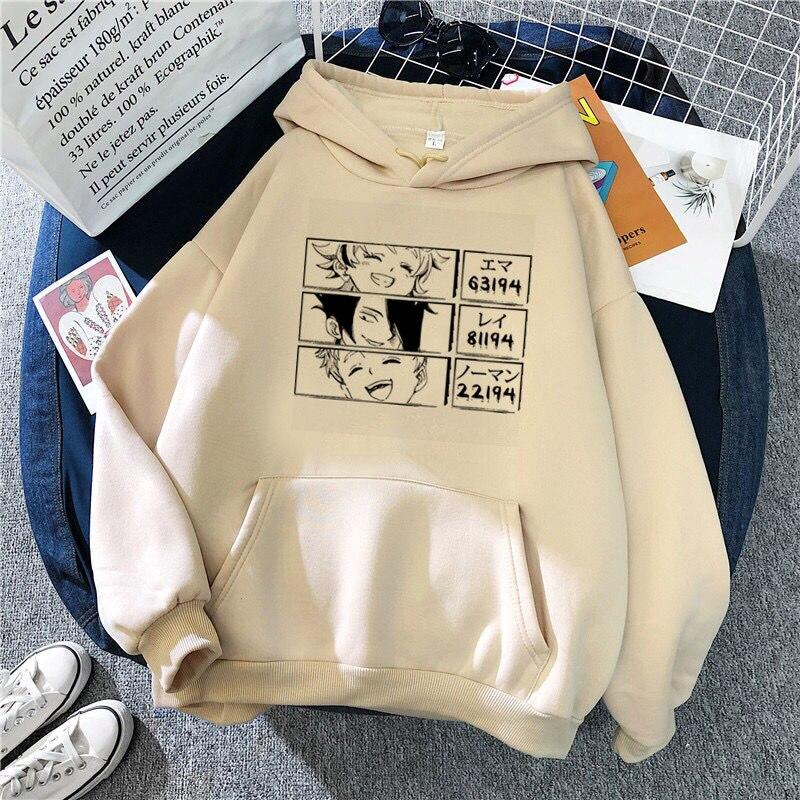 Обещанный Neverland толстовки Harajuku аниме Moletom Feminino розового и черного цветов уличная пуловеры свитшот в готическом стиле Для женщин топы