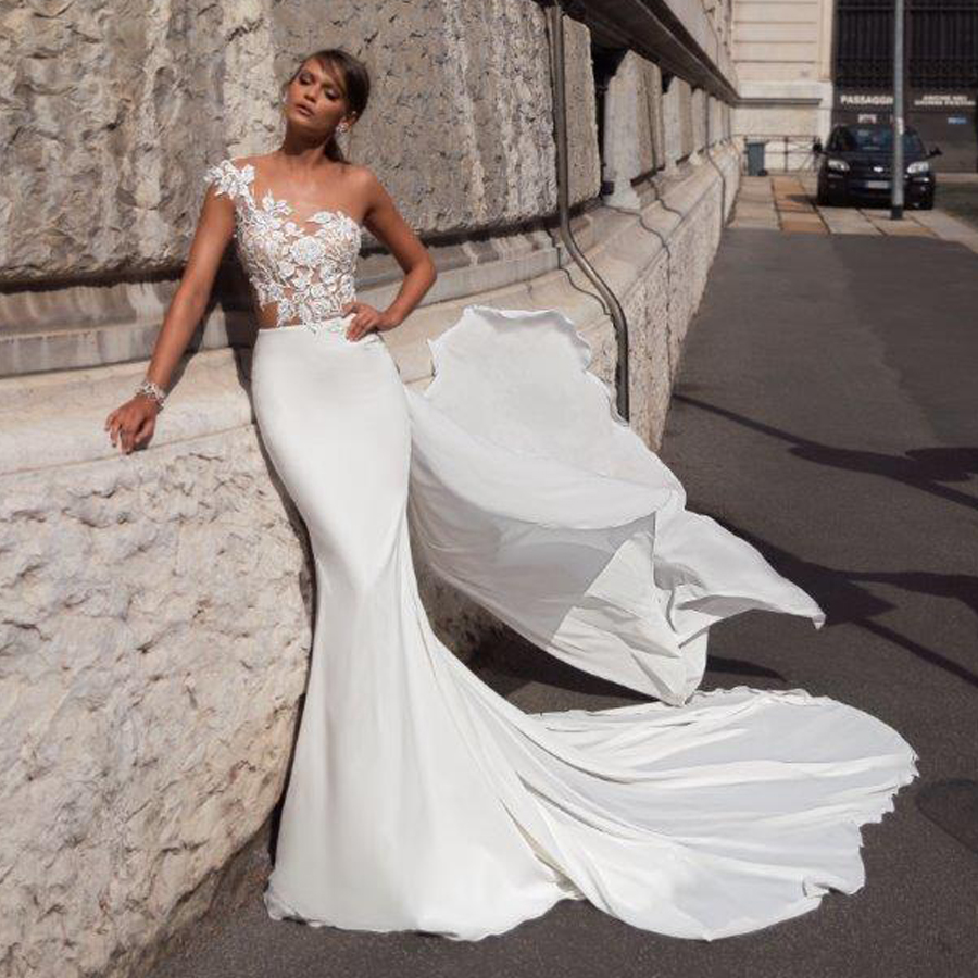 One Shoulder See Through Bodice Mermaid Slim Wedding Dress 150D Chiffon Bridal Dress With Long Band Vestido De Madrinha