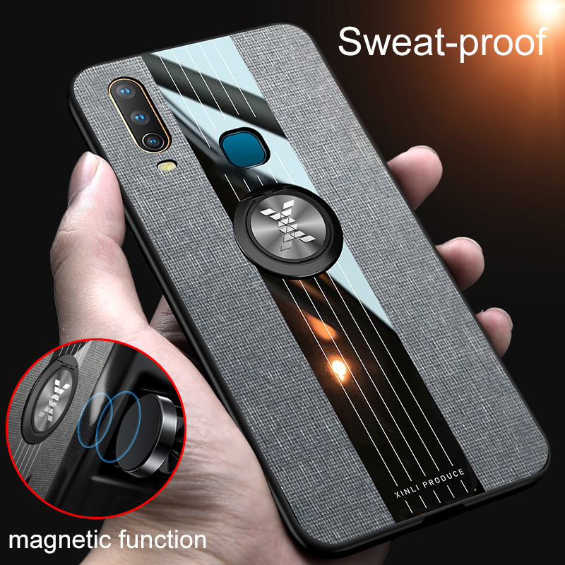 luxury <font><b>cases</b></font> For <font><b>VIVO</b></font> Y3 <font><b>Y17</b></font> <font><b>Case</b></font> Magnetic Ring Holder Fabric Hard Soft Frame Cloth Cover For <font><b>vivo</b></font> Y11 2019 Y15 Y12 U3X U10 <font><b>Case</b></font> image