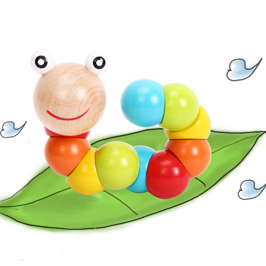 Baby Wooden Toys Worm Puzzles Color Twisted Worm Montessori Toy Fingers Flexible Training Educational Newborn Gifts Baby Product