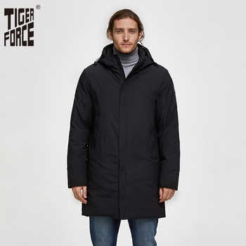 TIGER FORCE Men Autumn Winter Jacket Thicken Warm Long Male Parka Men's Padded Jacket Business Casual Overcoat Hooded Outwear - DISCOUNT ITEM  48% OFF All Category