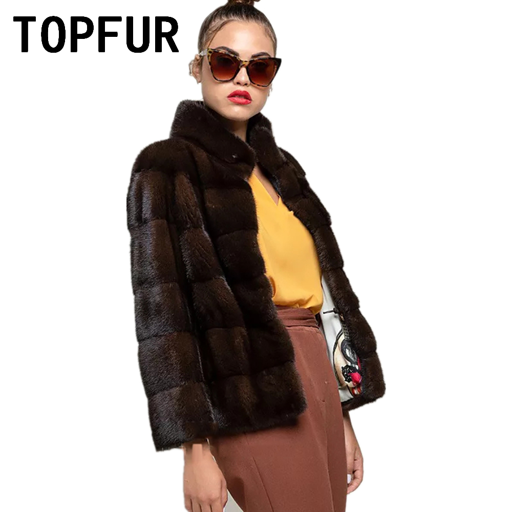 TOPFUR Dark Coffee Coat Women Winter Coat Women Plus Size Real Mink Fur Coats Genuine Leather Jackets Short Real Fur Coat Spring