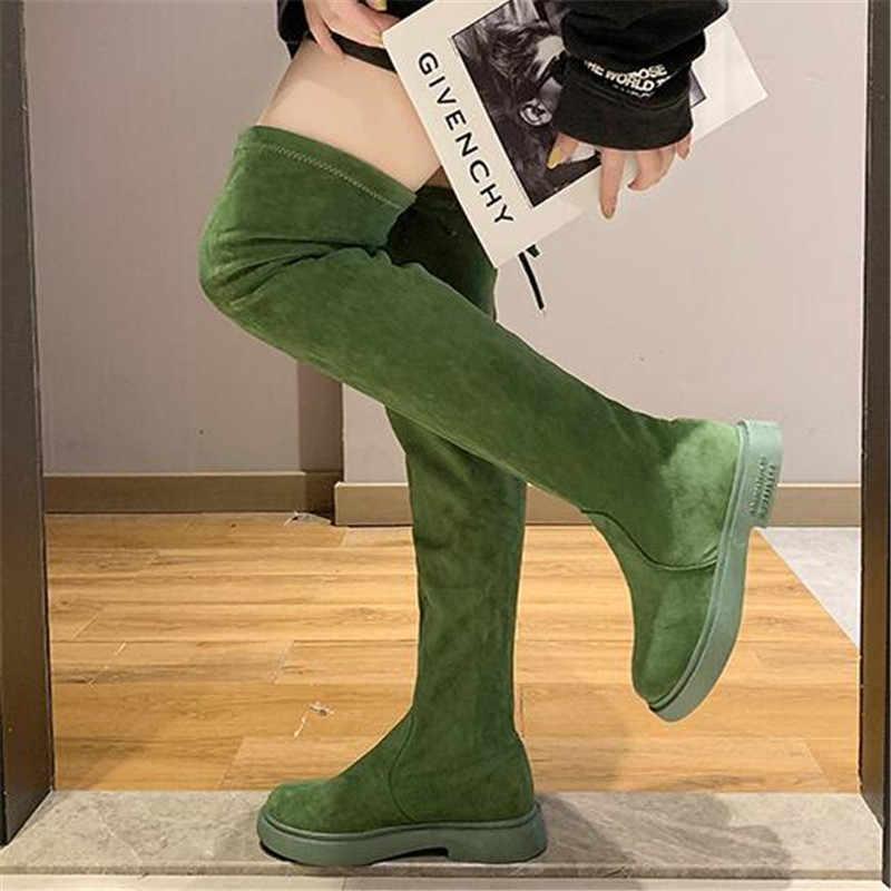 Automne femmes Sexy mince sur le genou bottes hautes mode Stretch tissu femme chaussures colorées bottes longues Bota Feminina noir