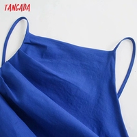 Tangada Fashion Blue Pleated Party Dresses For Women 2021 Backless Female Cotton Dress 3H600 2