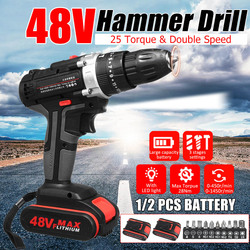 Perceuse à percussion électrique 48V perceuse sans fil outil de travail du bois perceuses à bois rechargeables J8 #3