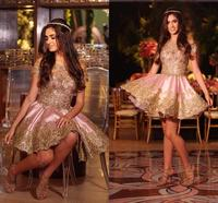 2020 Short Sexy Cocktail Dresses Off Shoulder Gold Lace Appliques Beaded Prom Dresses Party Dress Formal Homecoming Gowns