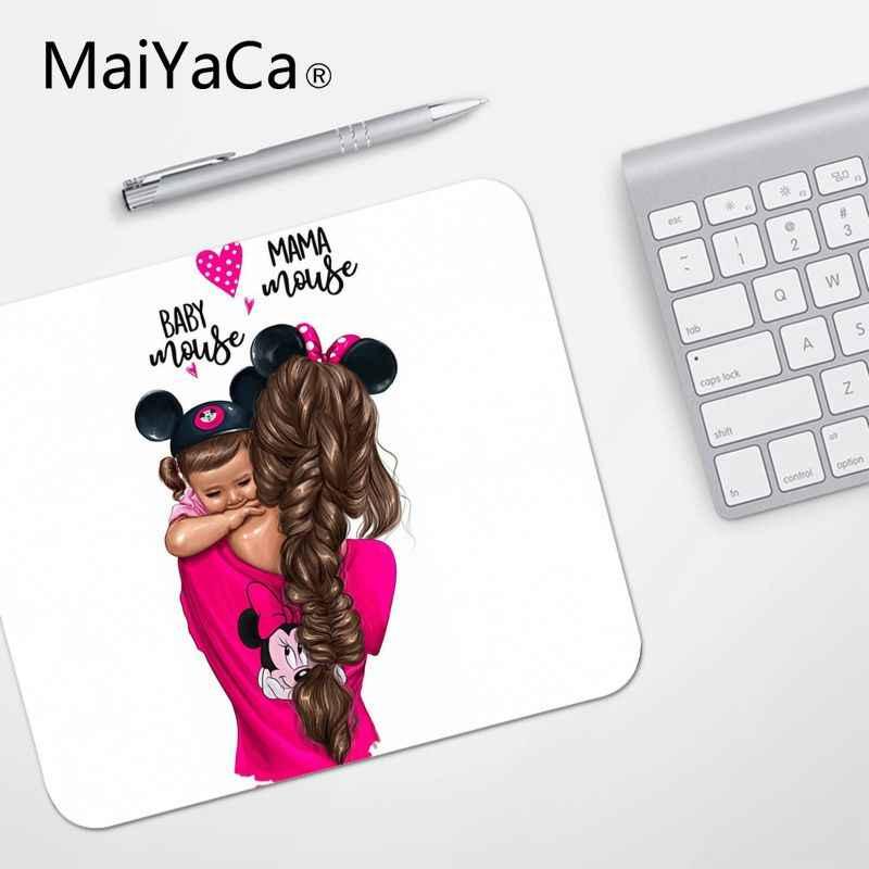 MaiYaCa de alta calidad pelo negro marrón bebé mamá chica reina ordenador portátil alfombrilla de ratón venta al por mayor