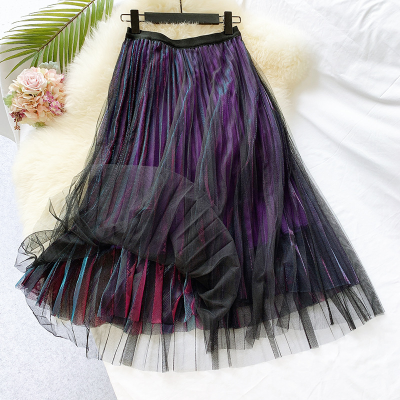 Vintage Style Women Long Skirt Mesh Patchwork 2 Layers Slim Skirts Sweet Ladies Kawaii Summer Autumn Pleated Skirt Female Faldas
