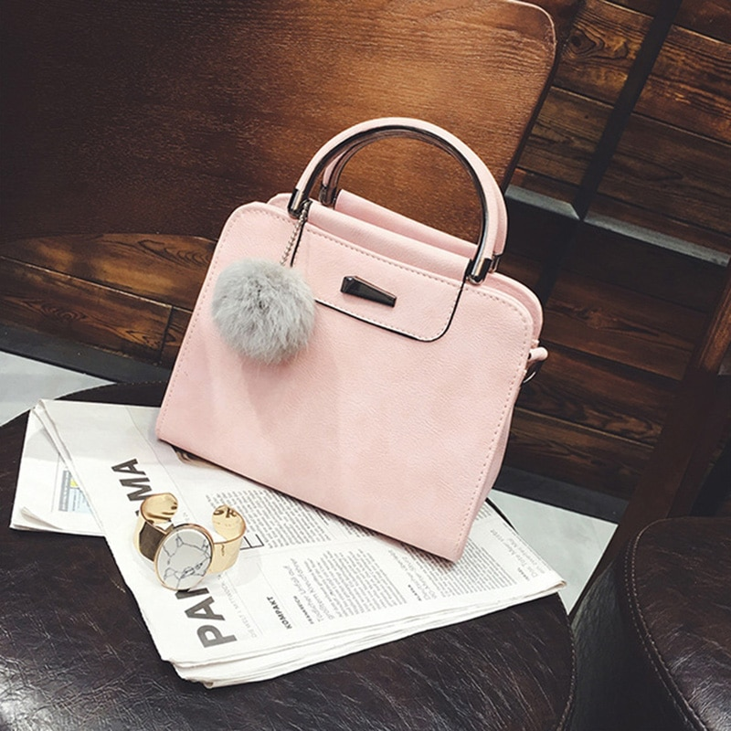 2020 SHUJIN Iron Medal Tote Purse Handbags With Hairball Women Top Handle Satchel Shoulder Bag PU Leather Crossbody Bags