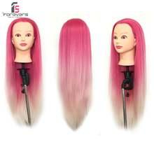 Голова манекен для укладки волос 100% цветов 22 дюйма розово