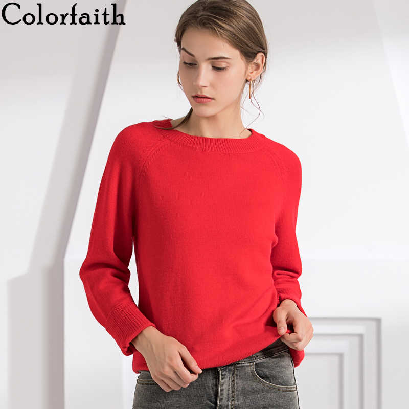 Colorfaith New 2019 Autumn Winter Women's Sweaters Pullover Korean Style Minimalist Casual Solid Office Lady Red Tops SW7077