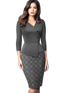 Image 3 - Nice forever Elegant Patchwork with Button Work Office vestidos Business Formal Bodycon Women Winter Dress B564