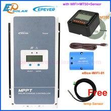 Epever 50A 60A 80A 100A MPPT 태양 광 충전 컨트롤러 12V 24V 36V 48V 자동 백라이트 LCD 태양 레귤레이터 지원 WIFI MT50 원격