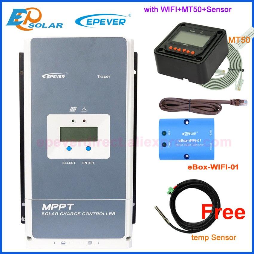 Контроллер заряда солнечной батареи Epever 50A 60A 80A 100A MPPT 12 В 24 в 36 в 48 в автоматическая подсветка ЖК-дисплей солнечный регулятор Поддержка WIFI MT50 ...