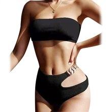Bandeau Bikini 2021 Sexy Ribbed Solid Swimsuit Women High Waist Bikini Set Swimwear Female Push Up Bathing Suit