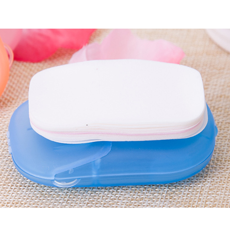 20pcs/box Disposable Soap Paper Boxed Paper Soap Travel Portable Hand Clean Scented Slice Washing Box Putting Soap Tools New2020
