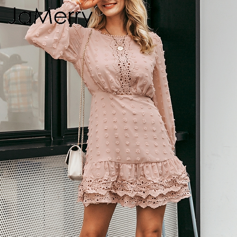JaMerry Vintage sexy white lace short dress women Long puff sleeve dresses dots female Luxury slim party mini dress vestidos 3