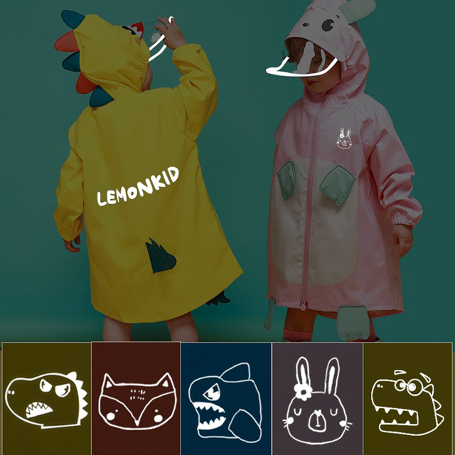 Cartoon Cloak Yellow Raincoat Kids Kindergarten Animal Cute Long Rain Coat Child Rain Pants Waterproof Rain Poncho Suit Gift 3