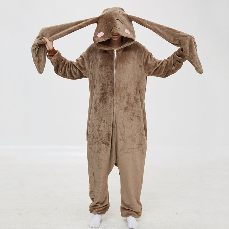 Long Ears Rabbit Women Animal Onesie Sleepwear Kigurumis Pajama Funny Suit Rompers Unisex Flannel Homewear Costume Apparel