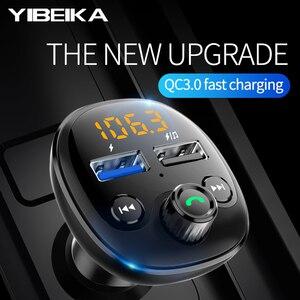 Image 2 - Автомобильное зарядное устройство QC 3,0 с Bluetooth, автомобильное зарядное устройство с двумя USB портами, Fm передатчик, быстрая зарядка, MP3, TF карта, музыкальный комплект для автомобиля, плеер