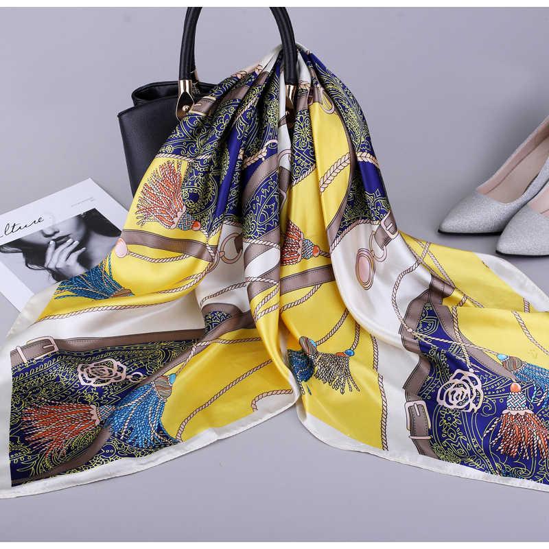 2019 sciarpa collo in raso di seta fazzoletto da donna stampa sciarpe Hijab donna 90*90cm scialli quadrati e avvolge sciarpe per donna