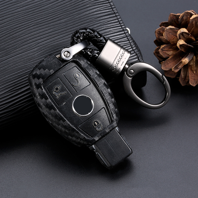 Car Key Case Cover Carbon Fiber For Mercedes Benz BGA AMG W203 W210 W211 W124 W202 W204 W205 W212 W176 Car key Shell Protecor image