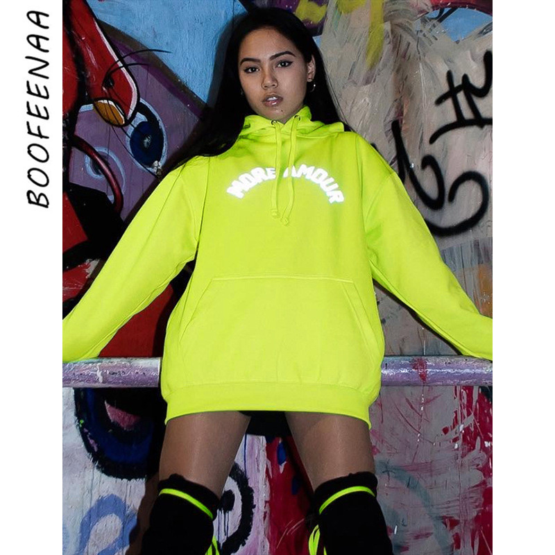 BOOFEENAA Fashion Reflective Letter Print Neon Green Oversized Hoodies Sweatshirt Streetwear Women Clothes Fall 2019 C68-AF79