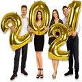2 шт. 16 Вт, 30 Вт, 40 дюймов золотое серебряное число шарики гигантский цифра 18 24 25 26 праздничных воздушных шаров